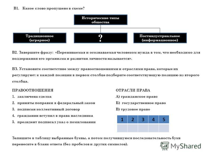 Исторические типы общества В1.