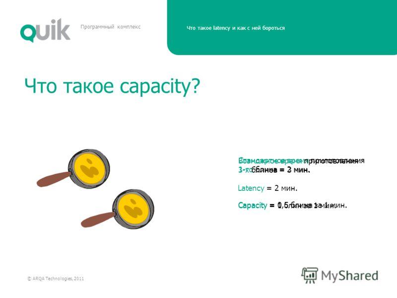 Что такое latency и как с ней бороться © ARQA Technologies, 2011 Программный комплекс Что такое capacity? Стандартное время приготовления 1-го блина = 2 мин. Latency = 2 мин. Capacity = 0,5 блина за 1 мин. Capacity = 1 блин за 1 мин. Возможное время
