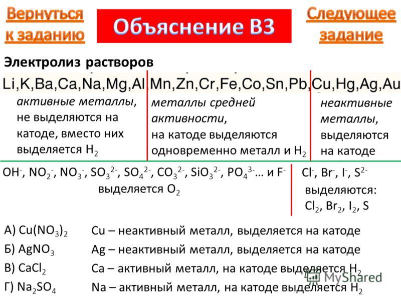 активные металлы, не выделяются на катоде, вместо них выделяется H 2 металлы средней активности, на катоде выделяются одновременно металл и H 2 неактивные металлы, выделяются на катоде OH -, NO 2 -, NO 3 -, SO 3 2-, SO 4 2-, CO 3 2-, SiO 3 2-, PO 4 3