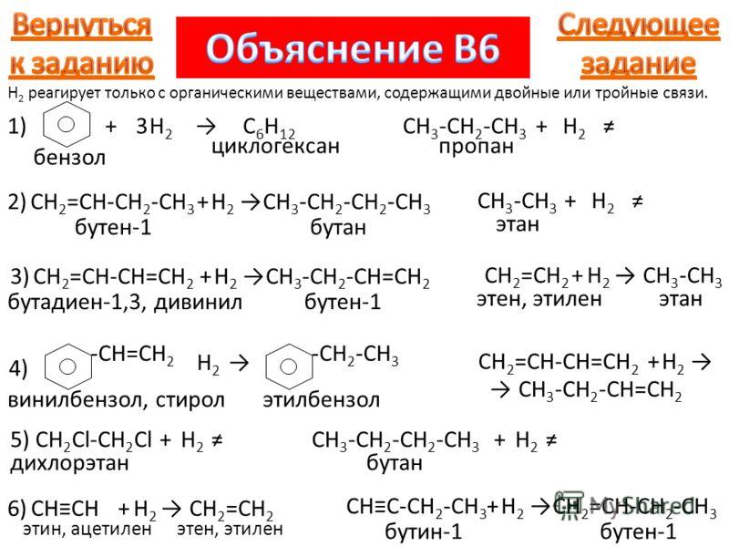 1)+H2H2 C 6 H 12 3 бензол циклогексан CH 3 -CH 2 -CH 3 +H2H2 пропан H 2 реагирует только с органическими веществами, содержащими двойные или тройные связи. 2)2)CH 2 =CH-CH 2 -CH 3 бутен-1 +H2H2 CH 3 -CH 2 -CH 2 -CH 3 бутан CH 3 -CH 3 +H2H2 этан 3)3)C