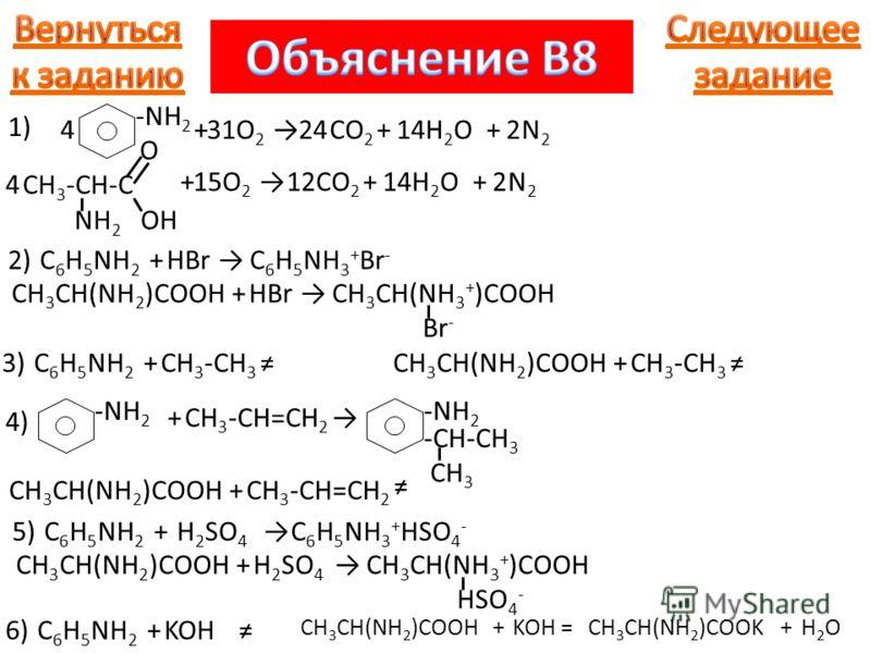 -NH 2 +O2O2 CO 2 +H2OH2O+N2N2 42414231 O CH 3 -CH-C NH 2 OH 1) +O2O2 CO 2 +H2OH2O+N2N2 1214215 4 2)C 6 H 5 NH 2 +HBrC 6 H 5 NH 3 + Br - CH 3 CH(NH 2 )COOH+HBrCH 3 CH(NH 3 + )COOH Br - 3)C 6 H 5 NH 2 +CH 3 -CH 3 CH 3 CH(NH 2 )COOH+CH 3 -CH 3 -NH 2 4)