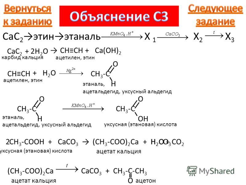 CaC 2 этинэтаналь X 1 X 2 X 3 CaC 2 карбид кальция +H2OH2O CHCH ацетилен, этин +Ca(OH) 2 2 CHCH ацетилен, этин +H2OH2O O CH 3 -C H этаналь, ацетальдегид, уксусный альдегид O CH 3 -C H этаналь, ацетальдегид, уксусный альдегид O CH 3 -C OH уксусная (эт