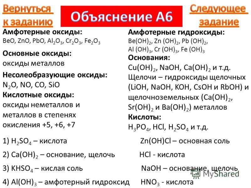 Амфотерные оксиды: BeO, ZnO, PbO, Al 2 O 3, Cr 2 O 3, Fe 2 O 3 Основные оксиды: оксиды металлов Несолеобразующие оксиды: N 2 O, NO, CO, SiO Кислотные оксиды: оксиды неметаллов и металлов в степенях окисления +5, +6, +7 1) H 2 SO 4 – кислота Zn(OH)Cl