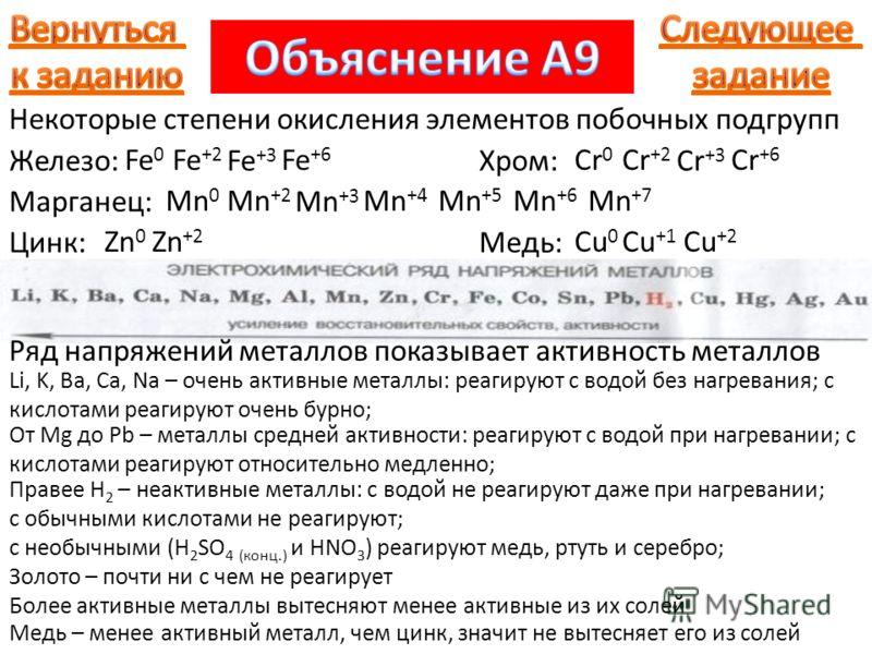 Некоторые степени окисления элементов побочных подгрупп Железо: Fe 0 Fe +2 Fe +3 Fe +6 Хром: Cr 0 Cr +2 Cr +3 Cr +6 Марганец: Mn 0 Mn +2 Mn +3 Mn +4 Mn +5 Mn +6 Mn +7 Цинк: Zn 0 Zn +2 Медь: Cu 0 Cu +1 Cu +2 Ряд напряжений металлов показывает активнос
