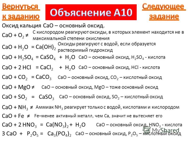 Оксид кальция CaO – основный оксид. +O2O2 С кислородом реагируют оксиды, в которых элемент находится не в максимальной степени окисления CaO +H2OH2O = Ca(OH) 2 Оксиды реагируют с водой, если образуется растворимый гидроксид +H 2 SO 4 = CaO CaSO 4 + H
