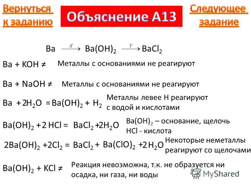 BaBa(OH) 2 BaCl 2 Металлы с основаниями не реагируют Ba+H2OH2O=Ba(OH) 2 +H2H2 2 Ba + KOH Ba + NaOH Металлы с основаниями не реагируют Металлы левее H реагируют с водой и кислотами Ba(OH) 2 +HCl=BaCl 2 +H2OH2O22 Ba(OH) 2 – основание, щелочь HCl - кисл