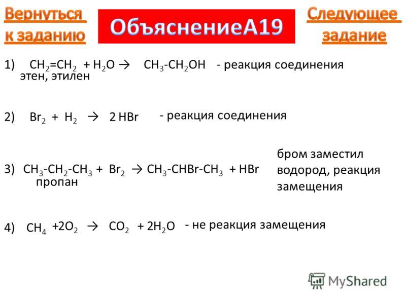 1)CH 2 =CH 2 этен, этилен +H2OH2OCH 3 -CH 2 OH- реакция соединения 2)Br 2 +H2H2 HBr2 - реакция соединения 3)3)CH 3 -CH 2 -CH 3 пропан +Br 2 CH 3 -CHBr-CH 3 +HBr бром заместил водород, реакция замещения 4)CH 4 +O2O2 CO 2 +H2OH2O22 - не реакция замещен