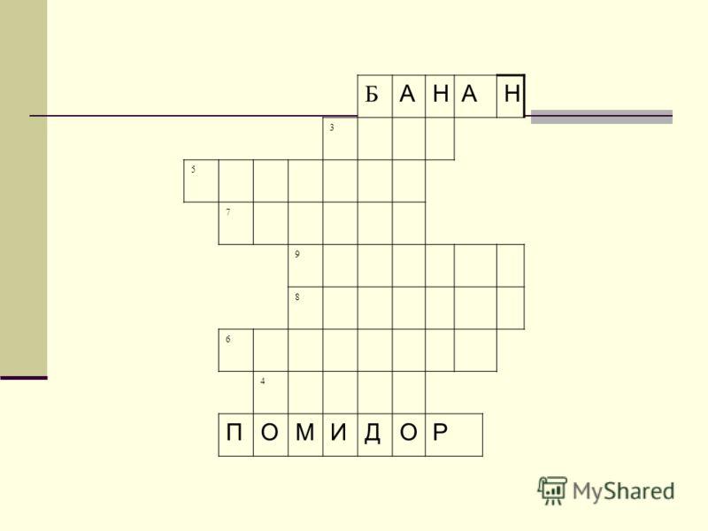 Б АНАН 3 5 7 9 8 6 4 ПОМИДОР