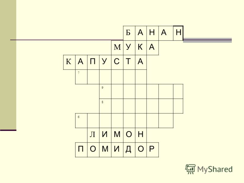 Б АНАН М УКА К АПУСТА 7 9 8 6 Л ИМОН ПОМИДОР