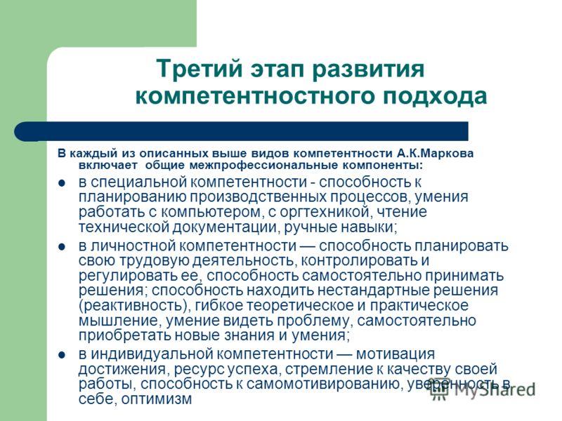 Третий этап развития компетентностного подхода В каждый из описанных выше видов компетентности А.К.Маркова включает общие межпрофессиональные компоненты: в специальной компетентности - способность к планированию производственных процессов, умения раб