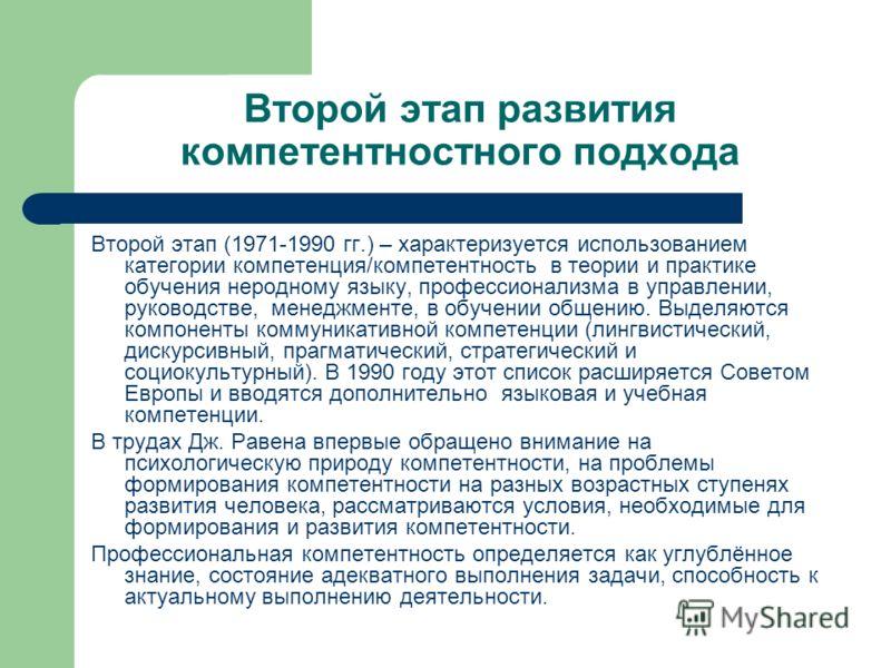 Второй этап развития компетентностного подхода Второй этап (1971-1990 гг.) – характеризуется использованием категории компетенция/компетентность в теории и практике обучения неродному языку, профессионализма в управлении, руководстве, менеджменте, в