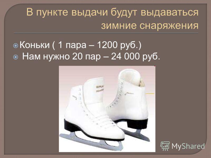 Коньки ( 1 пара – 1200 руб.) Нам нужно 20 пар – 24 000 руб.