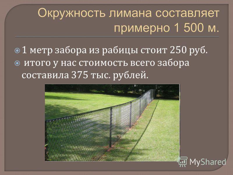 1 метр забора из рабицы стоит 250 руб. итого у нас стоимость всего забора составила 375 тыс. рублей.