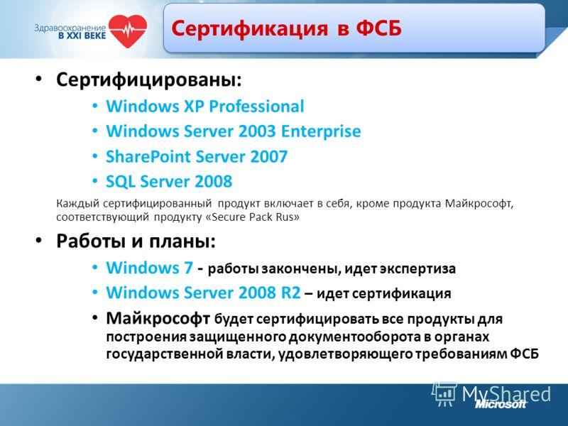 Сертификация в ФСБ Сертифицированы: Windows XP Professional Windows Server 2003 Enterprise SharePoint Server 2007 SQL Server 2008 Каждый сертифицированный продукт включает в себя, кроме продукта Майкрософт, соответствующий продукту «Secure Pack Rus»