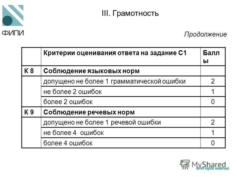 III. Грамотность Критерии оценивания ответа на задание С1Балл ы К 8Соблюдение языковых норм допущено не более 1 грамматической ошибки2 не более 2 ошибок1 более 2 ошибок0 К 9Соблюдение речевых норм допущено не более 1 речевой ошибки2 не более 4 ошибок