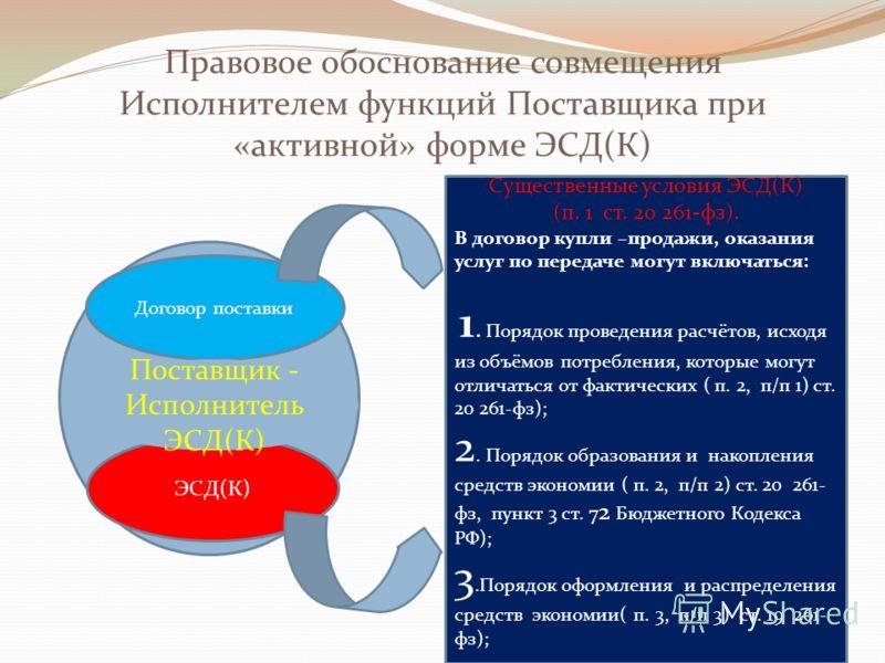 Правовое обоснование совмещения Исполнителем функций Поставщика при «активной» форме ЭСД(К) Договор поставки ЭСД(К) Существенные условия ЭСД(К) (п. 1 ст. 20 261-фз). В договор купли –продажи, оказания услуг по передаче могут включаться: 1. Порядок пр