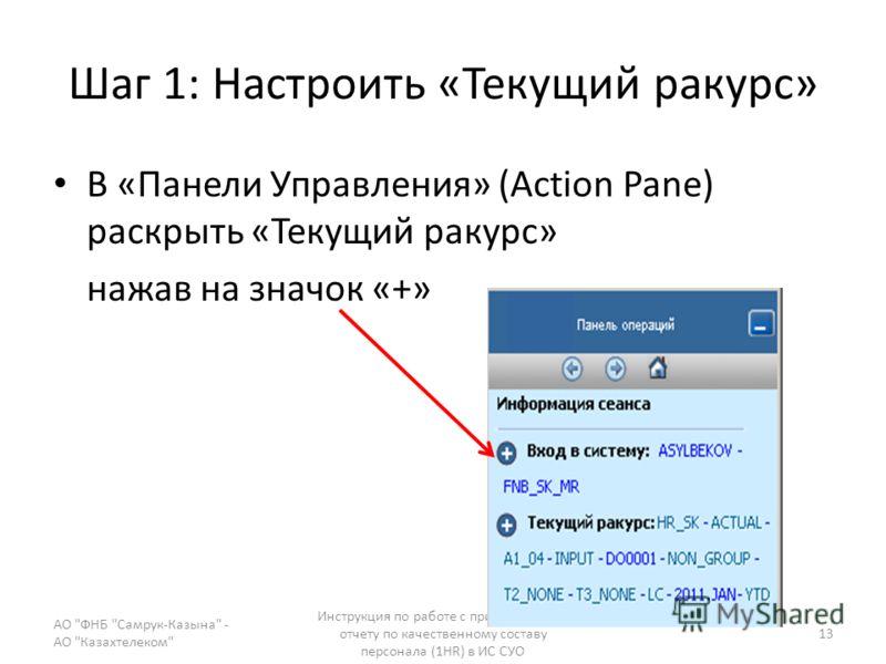 Шаг 1: Настроить «Текущий ракурс» В «Панели Управления» (Action Pane) раскрыть «Текущий ракурс» нажав на значок «+» АО