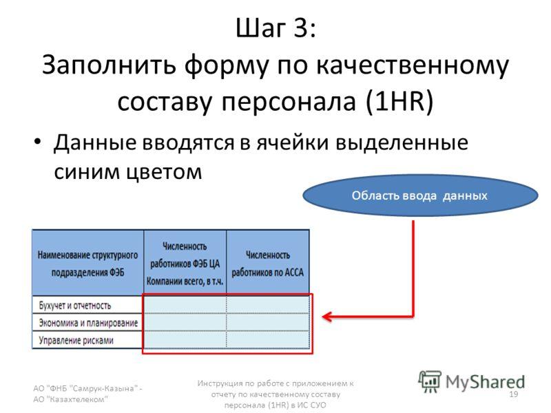 Шаг 3: Заполнить форму по качественному составу персонала (1HR) Данные вводятся в ячейки выделенные синим цветом АО