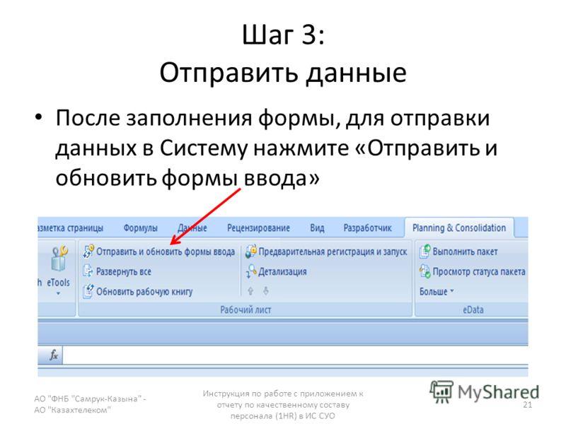 Шаг 3: Отправить данные После заполнения формы, для отправки данных в Систему нажмите «Отправить и обновить формы ввода» АО