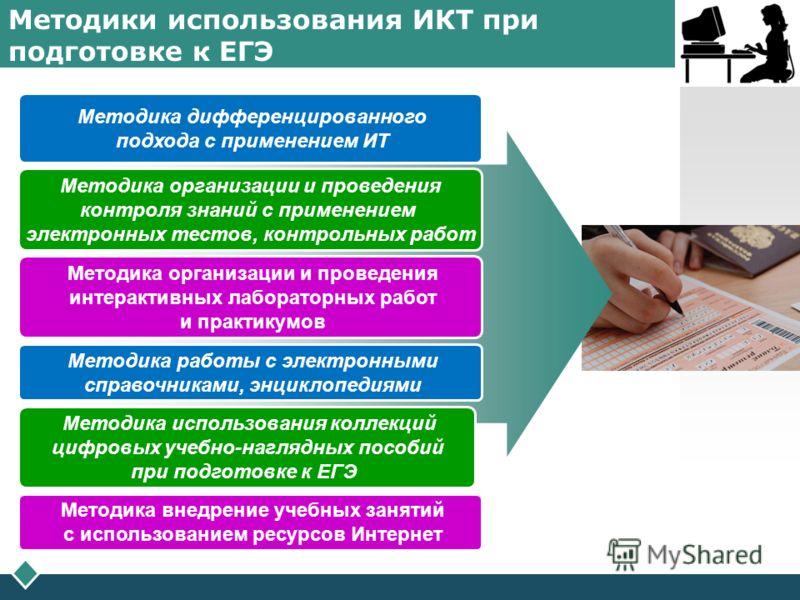 LOGO Методики использования ИКТ при подготовке к ЕГЭ Методика дифференцированного подхода с применением ИТ Методика организации и проведения контроля