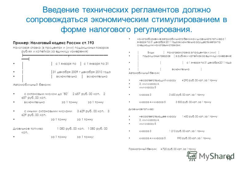 16 Введение технических регламентов должно сопровождаться экономическим стимулированием в форме налогового регулирования. налогообложение автомобильного бензина и дизельного топлива с 1 января по 31 декабря 2011 года включительно осуществляется по сл