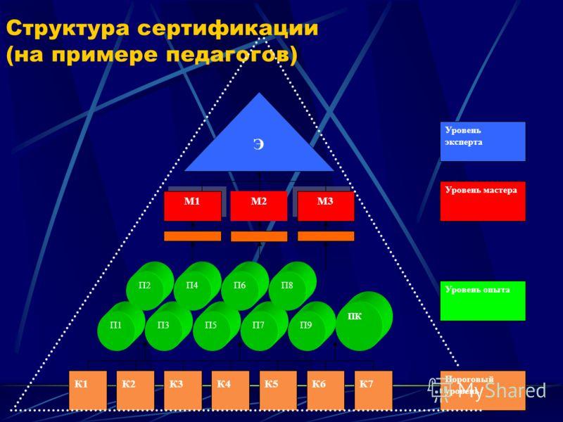 Структура сертификации (на примере педагогов) К1К2К3К4К5К6К7 П1 П3П5П7П9 ПК П2П4П6П8 Пороговый уровень Уровень опыта М2 М3 М1 Э Уровень мастера Уровень эксперта