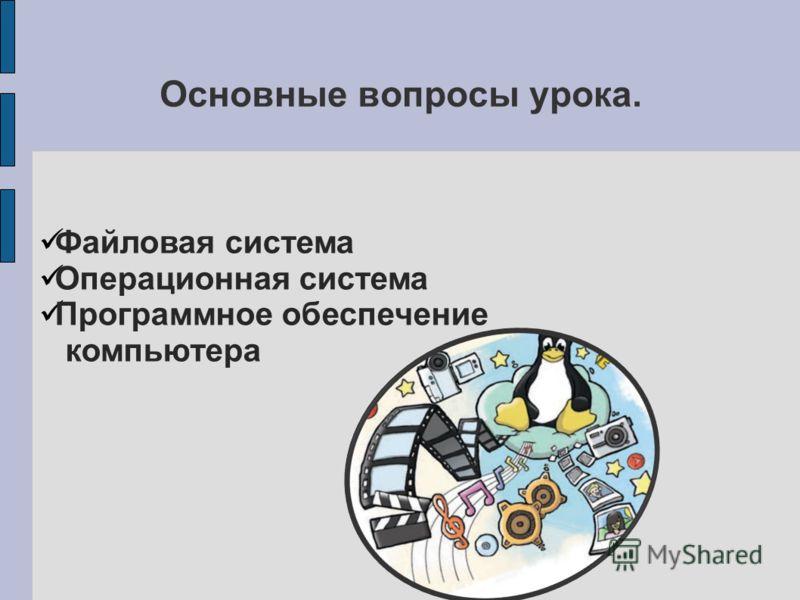 Основные вопросы урока. Файловая система Операционная система Программное обеспечение компьютера