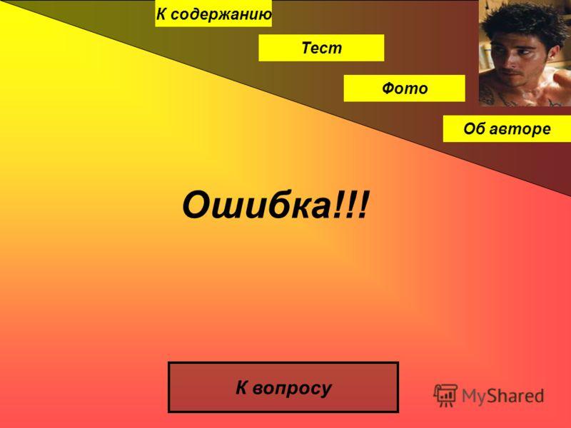 К содержанию Тест Фото Об авторе Ошибка!!! К вопросу