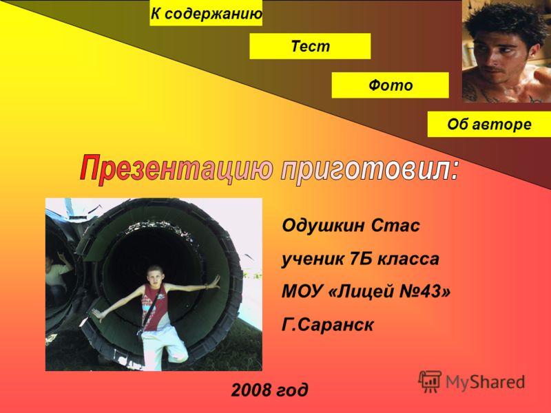 К содержанию Тест Фото Об авторе Одушкин Стас ученик 7Б класса МОУ «Лицей 43» Г.Саранск 2008 год