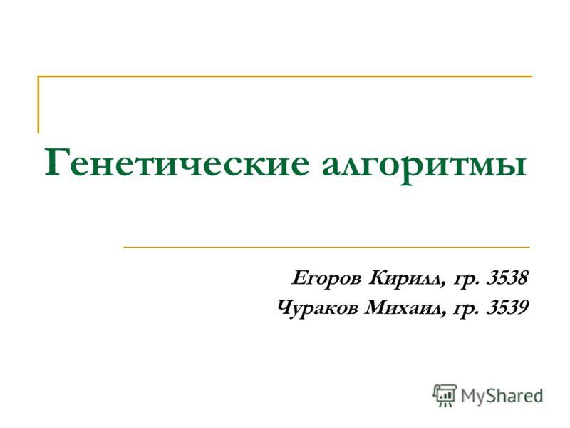 Генетические алгоритмы Егоров Кирилл, гр. 3538 Чураков Михаил, гр. 3539