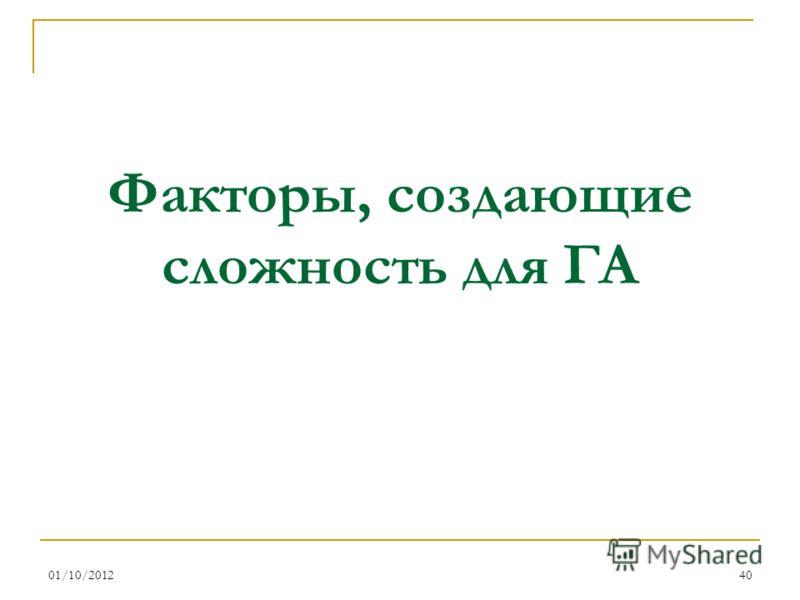 16/08/201240 Факторы, создающие сложность для ГА