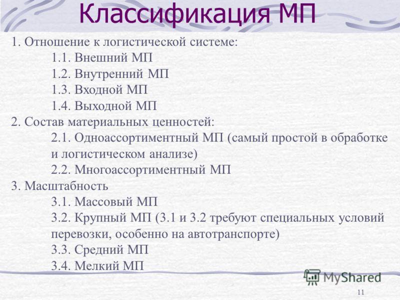11 Классификация МП 1. Отношение к логистической системе: 1.1. Внешний МП 1.2. Внутренний МП 1.3. Входной МП 1.4. Выходной МП 2. Состав материальных ценностей: 2.1. Одноассортиментный МП (самый простой в обработке и логистическом анализе) 2.2. Многоа