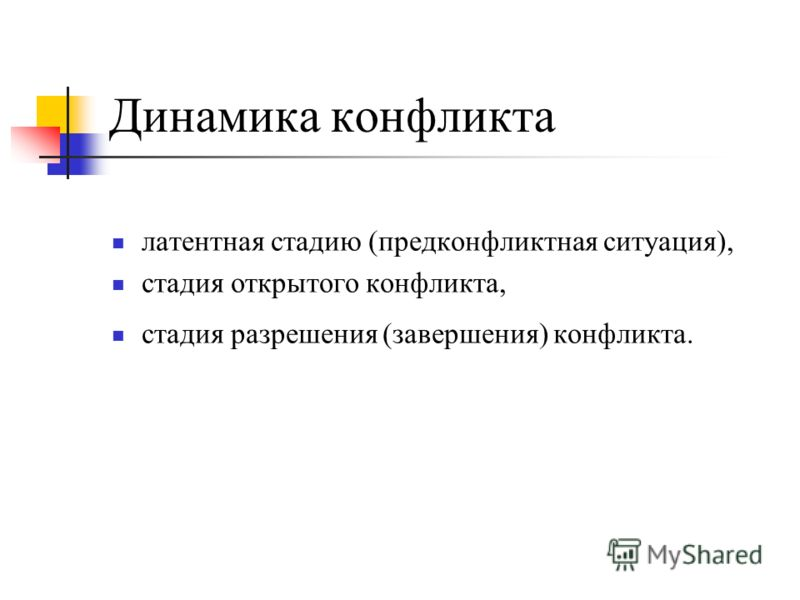 Динамика конфликта латентная стадию (предконфликтная ситуация), стадия открытого конфликта, стадия разрешения (завершения) конфликта.