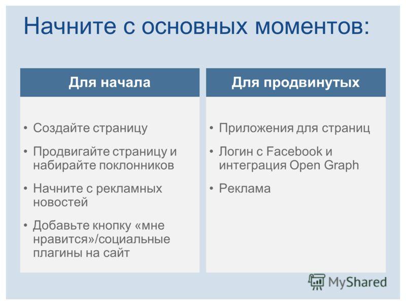 Начните с основных моментов: Для начала Создайте страницу Продвигайте страницу и набирайте поклонников Начните с рекламных новостей Добавьте кнопку «мне нравится»/социальные плагины на сайт Для продвинутых Приложения для страниц Логин с Facebook и ин
