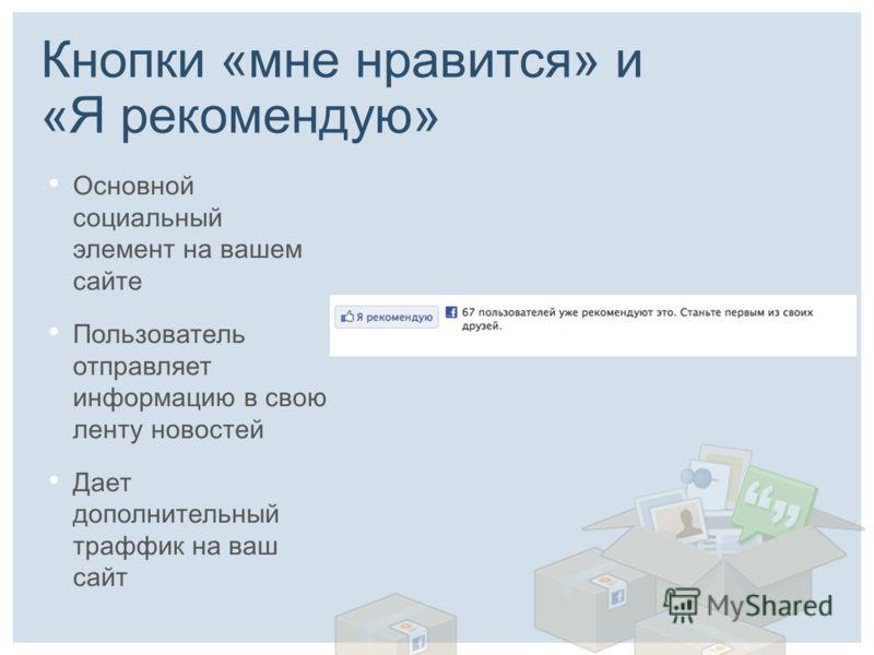 Кнопки «мне нравится» и «Я рекомендую» Основной социальный элемент на вашем сайте Пользователь отправляет информацию в свою ленту новостей Дает дополнительный траффик на ваш сайт