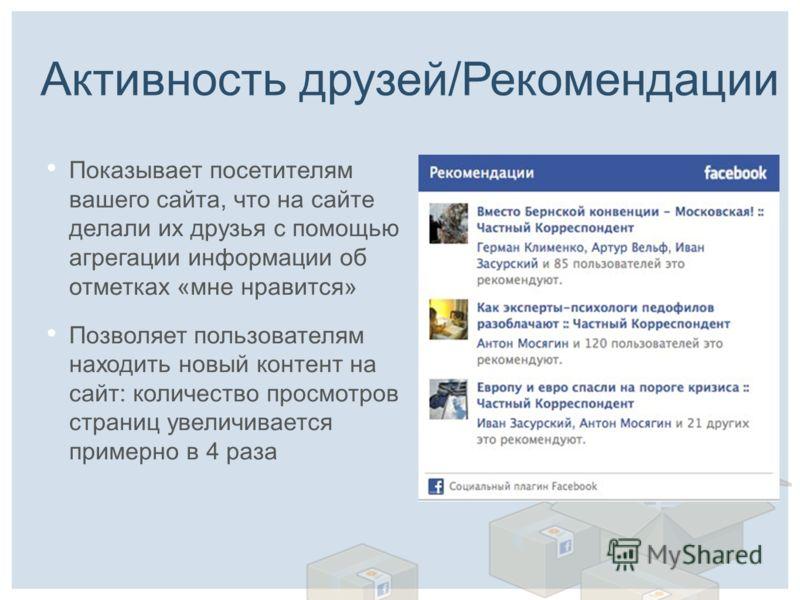 Активность друзей/Рекомендации Показывает посетителям вашего сайта, что на сайте делали их друзья с помощью агрегации информации об отметках «мне нравится» Позволяет пользователям находить новый контент на сайт: количество просмотров страниц увеличив