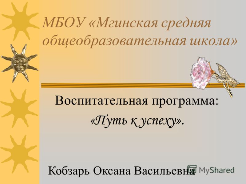 МБОУ «Мгинская средняя общеобразовательная школа» Воспитательная программа: «Путь к успеху». Кобзарь Оксана Васильевна