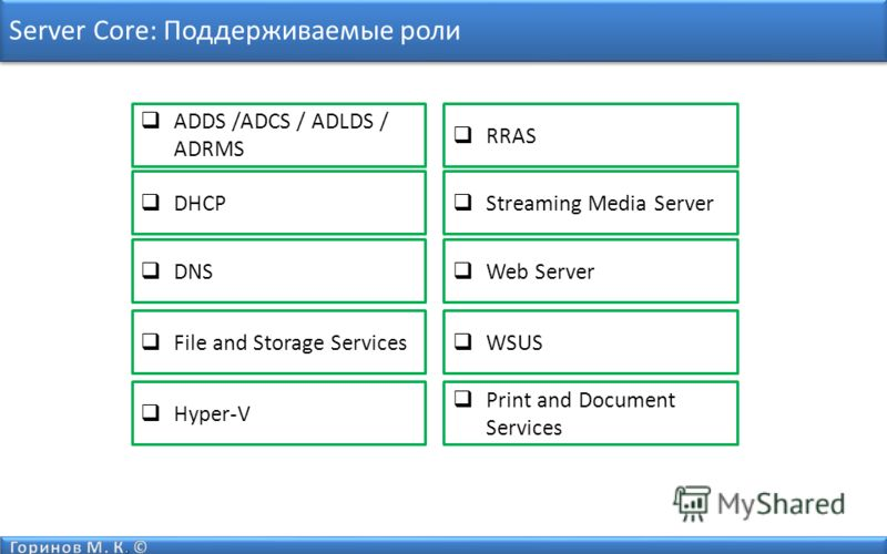 Server Core: Поддерживаемые роли ADDS /ADCS / ADLDS / ADRMS DHCP DNS File and Storage Services Hyper-V Print and Document Services RRAS Streaming Media Server Web Server WSUS