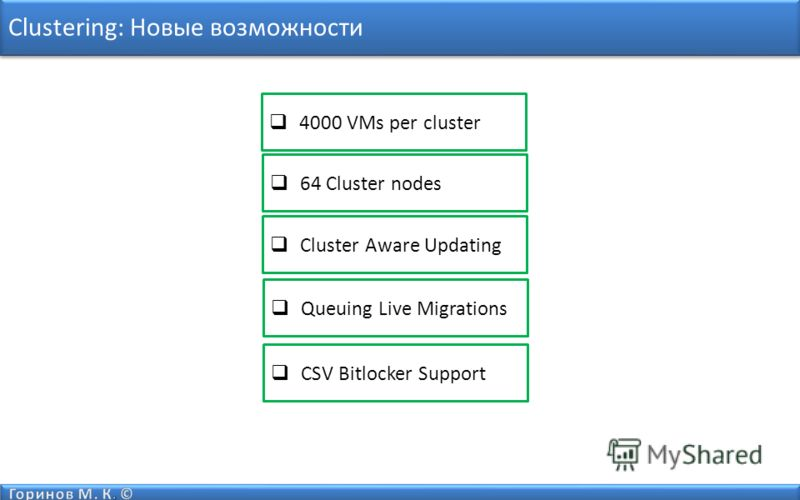 Clustering: Новые возможности 64 Cluster nodes Cluster Aware Updating 4000 VMs per cluster Queuing Live Migrations CSV Bitlocker Support