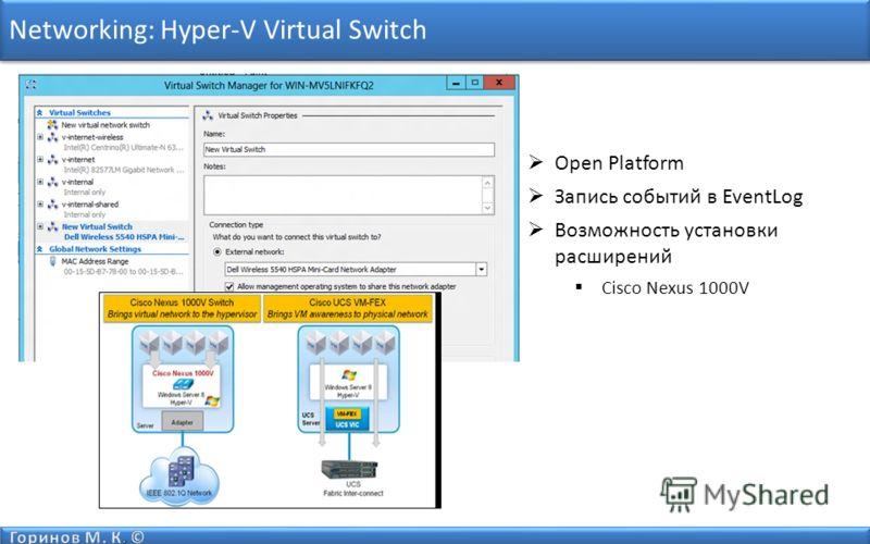 Networking: Hyper-V Virtual Switch Open Platform Запись событий в EventLog Возможность установки расширений Cisco Nexus 1000V