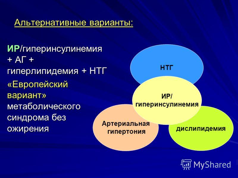 Альтернативные варианты: ИР/гиперинсулинемия + АГ + гиперлипидемия + НТГ «Европейский вариант» метаболического синдрома без ожирения Артериальная гипертония НТГ дислипидемия ИР/ гиперинсулинемия
