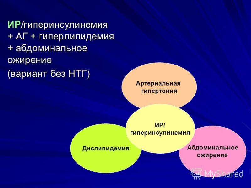 ИР/гиперинсулинемия + АГ + гиперлипидемия + абдоминальное ожирение (вариант без НТГ) Артериальная гипертония Абдоминальное ожирение Дислипидемия ИР/ гиперинсулинемия