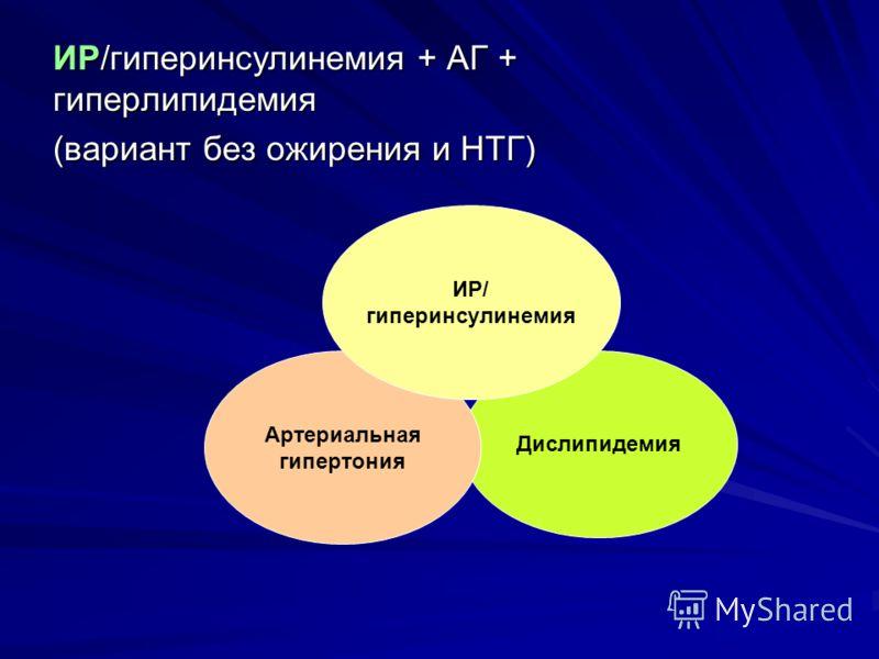 ИР/гиперинсулинемия + АГ + гиперлипидемия (вариант без ожирения и НТГ) Дислипидемия Артериальная гипертония ИР/ гиперинсулинемия