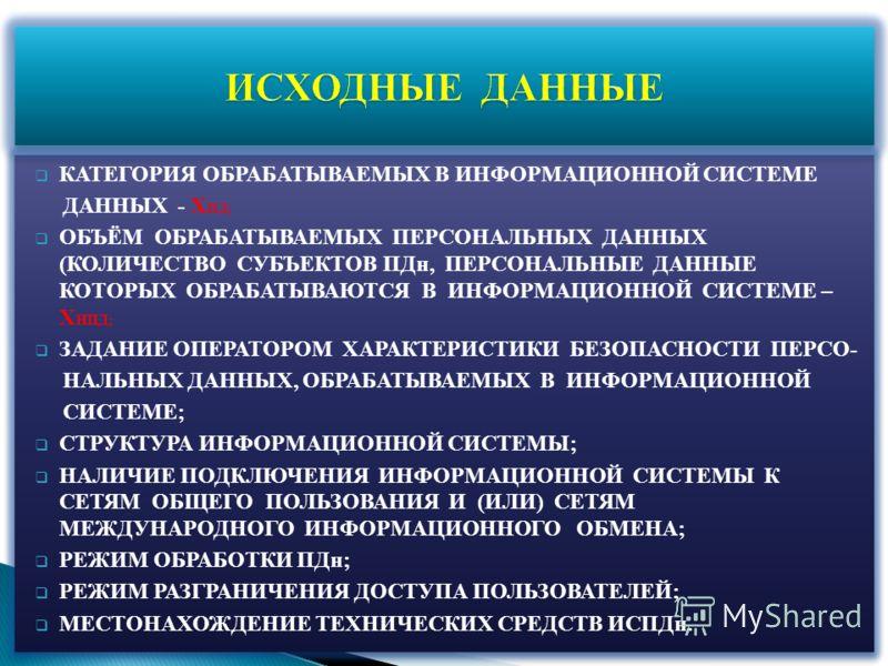 КАТЕГОРИЯ ОБРАБАТЫВАЕМЫХ В ИНФОРМАЦИОННОЙ СИСТЕМЕ ДАННЫХ - Х ПД; ОБЪЁМ ОБРАБАТЫВАЕМЫХ ПЕРСОНАЛЬНЫХ ДАННЫХ (КОЛИЧЕСТВО СУБЪЕКТОВ ПДн, ПЕРСОНАЛЬНЫЕ ДАННЫЕ КОТОРЫХ ОБРАБАТЫВАЮТСЯ В ИНФОРМАЦИОННОЙ СИСТЕМЕ – Х НПД; ЗАДАНИЕ ОПЕРАТОРОМ ХАРАКТЕРИСТИКИ БЕЗОПА