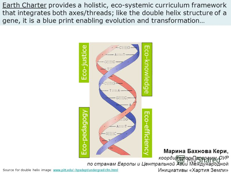 Eco-pedagogy Eco-efficiency Eco-justice Eco-knowledge Earth Charter provides a holistic, eco-systemic curriculum framework that integrates both axes/threads; like the double helix structure of a gene, it is a blue print enabling evolution and transfo