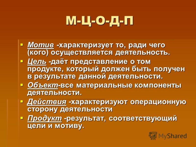 М-Ц-О-Д-П Мотив -характеризует то, ради чего (кого) осуществляется деятельность. Мотив -характеризует то, ради чего (кого) осуществляется деятельность. Цель -даёт представление о том продукте, который должен быть получен в результате данной деятельно