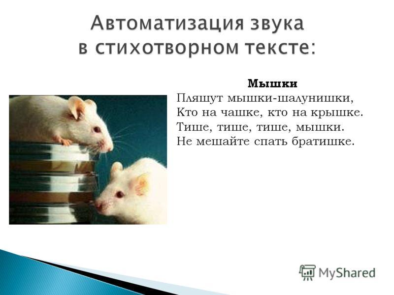 Мышки Пляшут мышки-шалунишки, Кто на чашке, кто на крышке. Тише, тише, тише, мышки. Не мешайте спать братишке.
