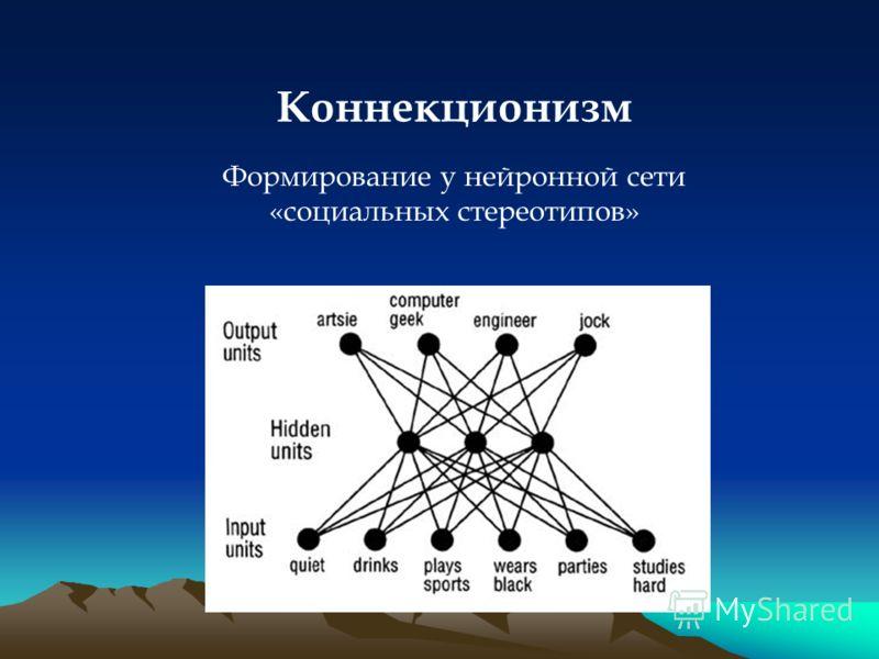 Коннекционизм Формирование у нейронной сети «социальных стереотипов»