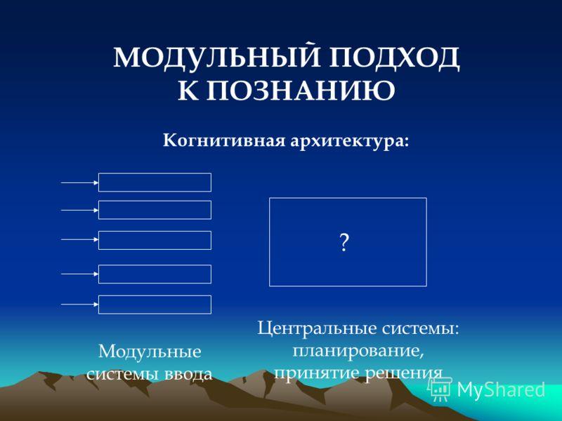 МОДУЛЬНЫЙ ПОДХОД К ПОЗНАНИЮ Когнитивная архитектура: Модульные системы ввода Центральные системы: планирование, принятие решения ?