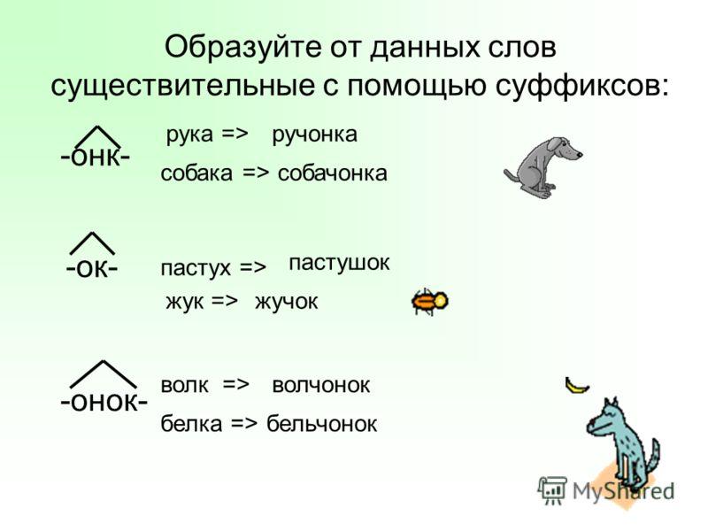 Образуйте от данных слов существительные с помощью суффиксов: -онк- -ок- -онок- белка => собака => пастух => жук => волк => рука =>ручонка собачонка пастушок жучок волчонок бельчонок